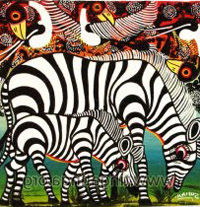 Tingatinga-style painting of zebras