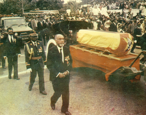 Colour picture of funeral procession
