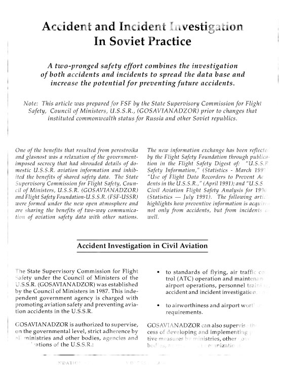 Soviet air safety investigations