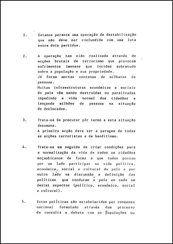 The Frelimo 12 Point Plan of 1989